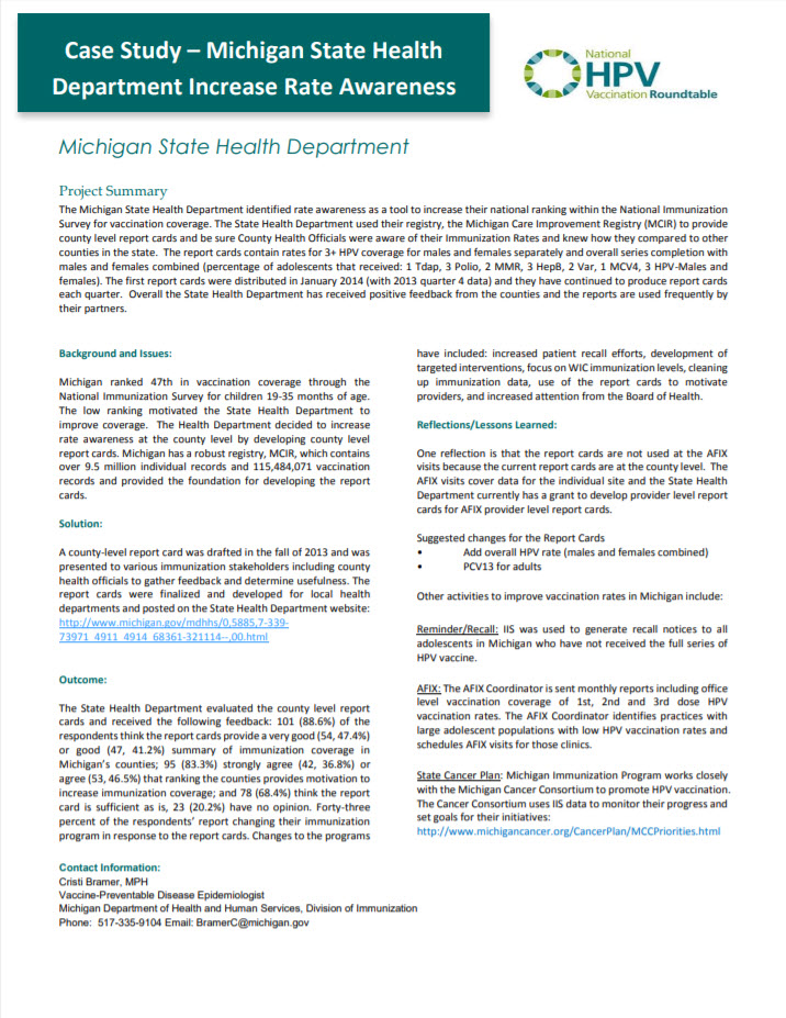 Cover HPV Case Study Michigan State Health Department Increase Rate Awareness