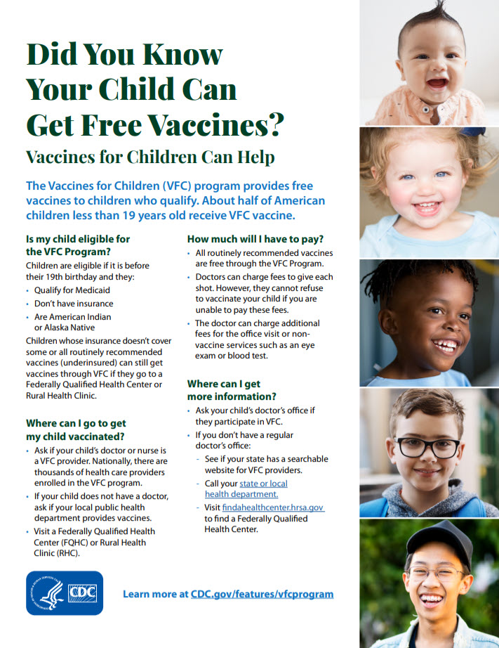 Cover Vaccines for Children Free Vaccines Flyer