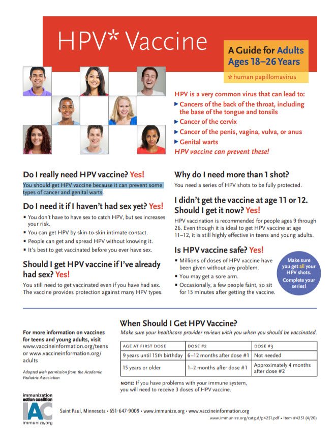 Factsheet HPV Vaccine Guide for Adults