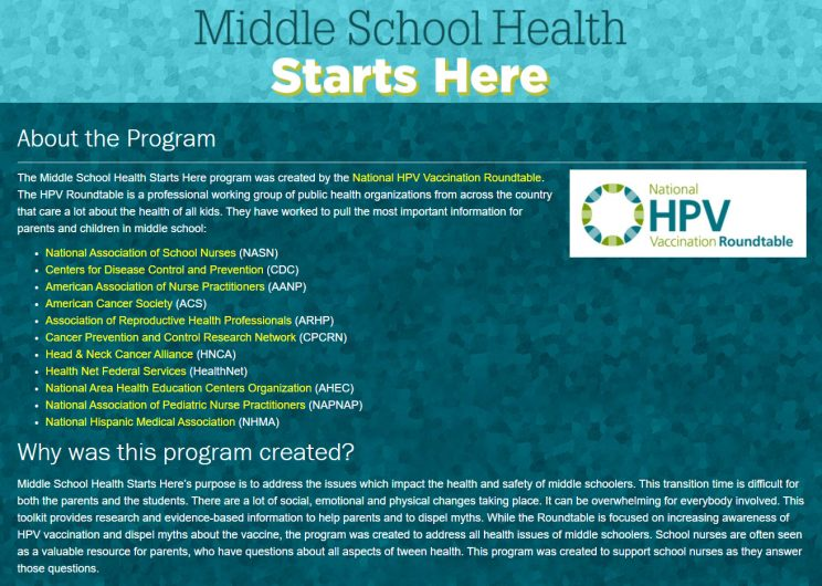 Web Page Middle School Health Starts Here