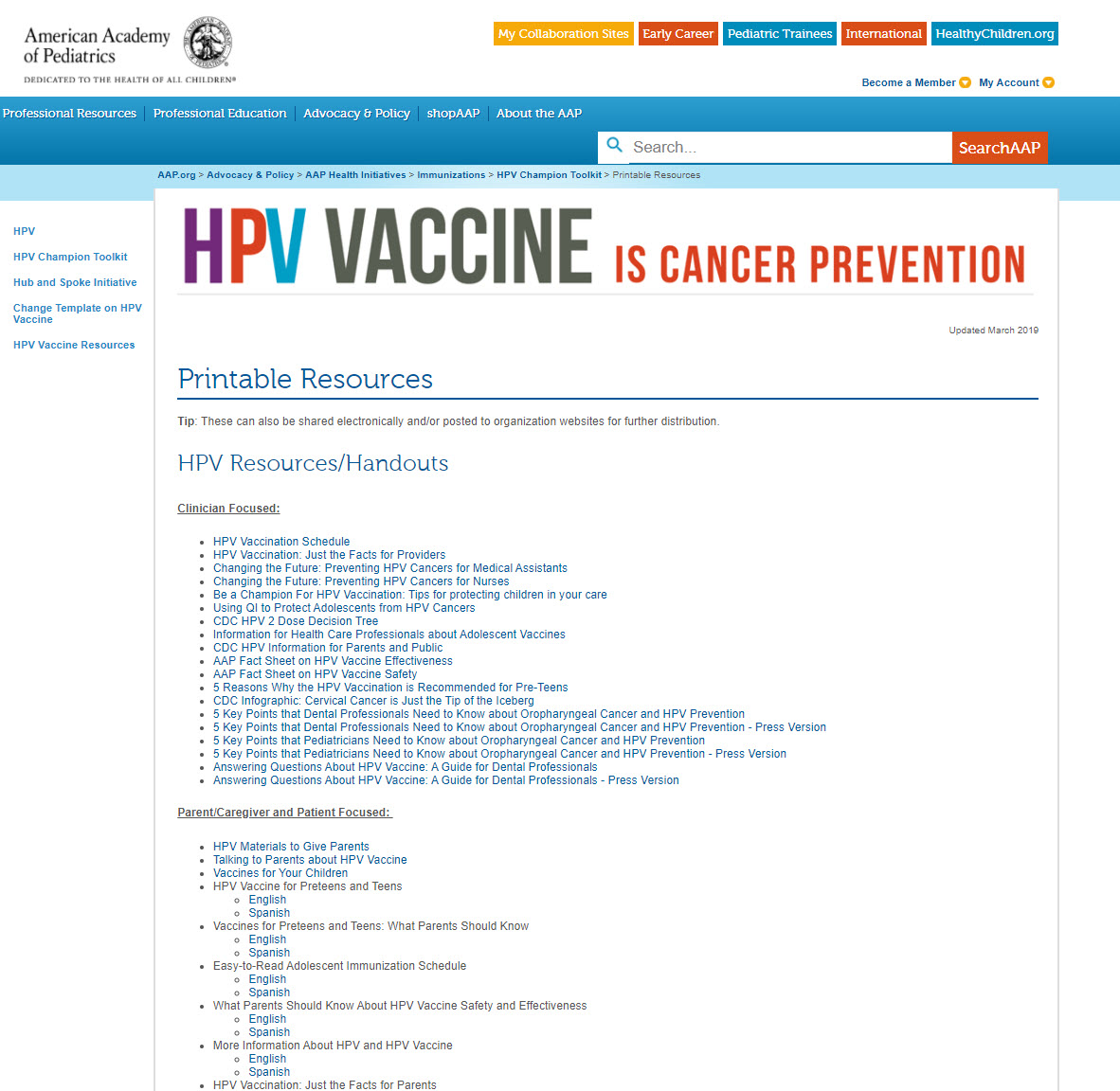 Webpage AAP HPV Vaccine is Cancer Prevention