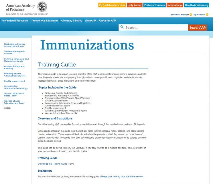 Webpage AAP Immunizations