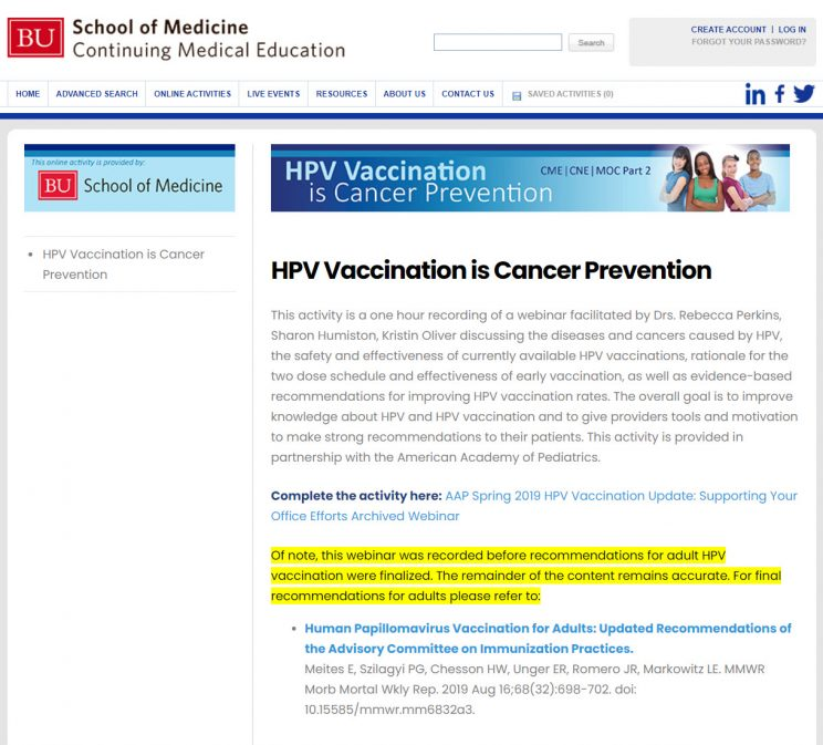 Webpage BU HPV Vaccination is Cancer Prevention