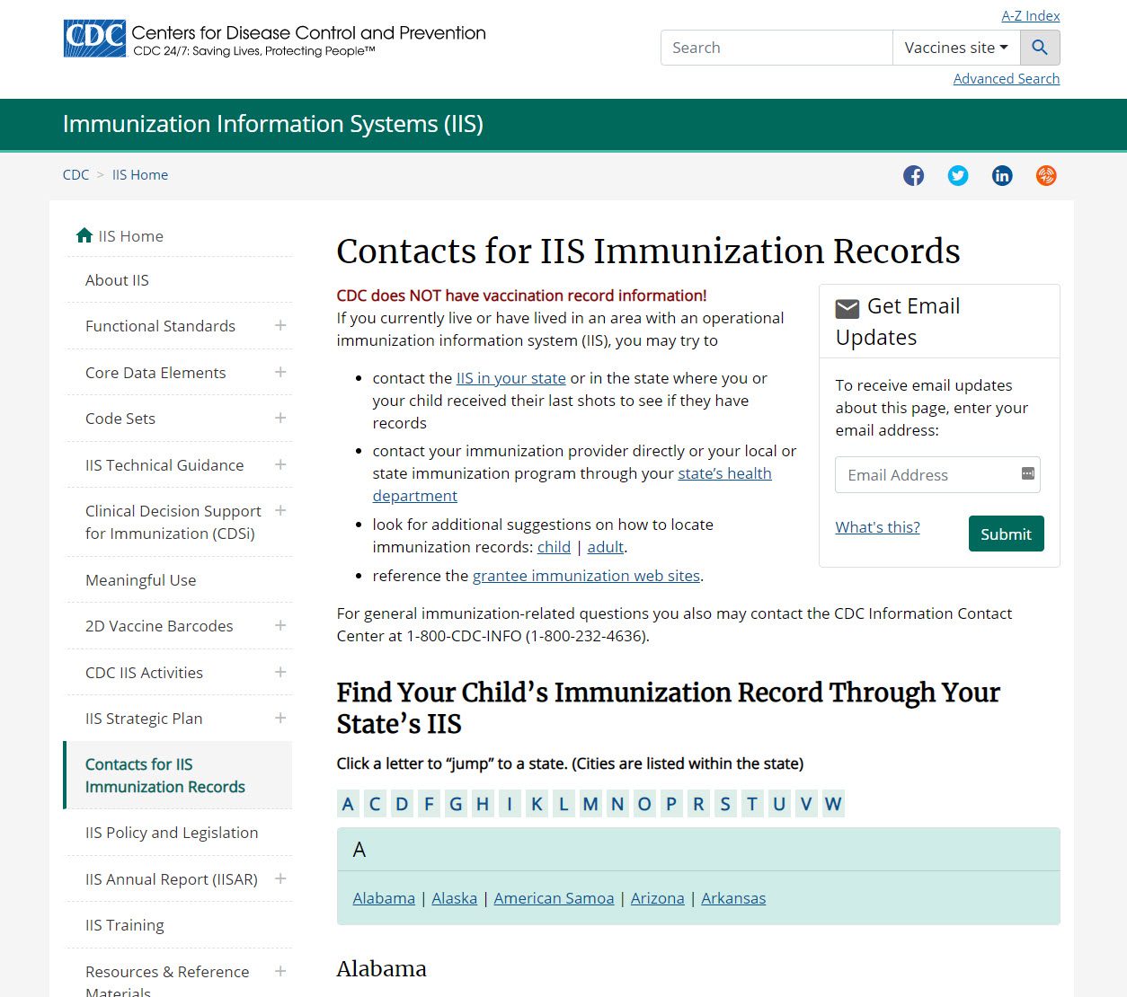 Webpage CDC Contacts for Immunization Information Systems