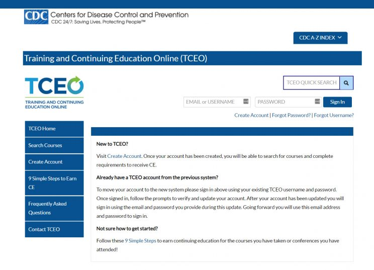 Webpage CDC Training Continuing Education Center