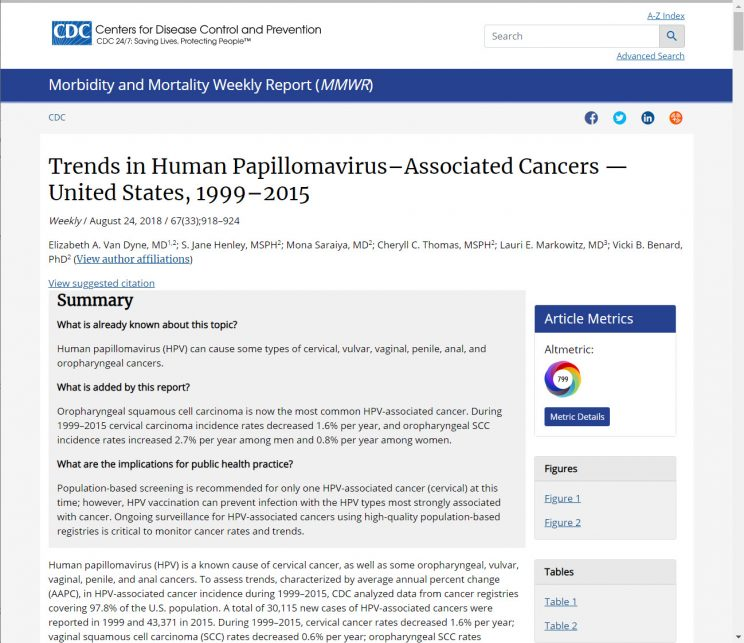 Webpage CDC Trends in HPV-Associated Cancers USA 1999 2015