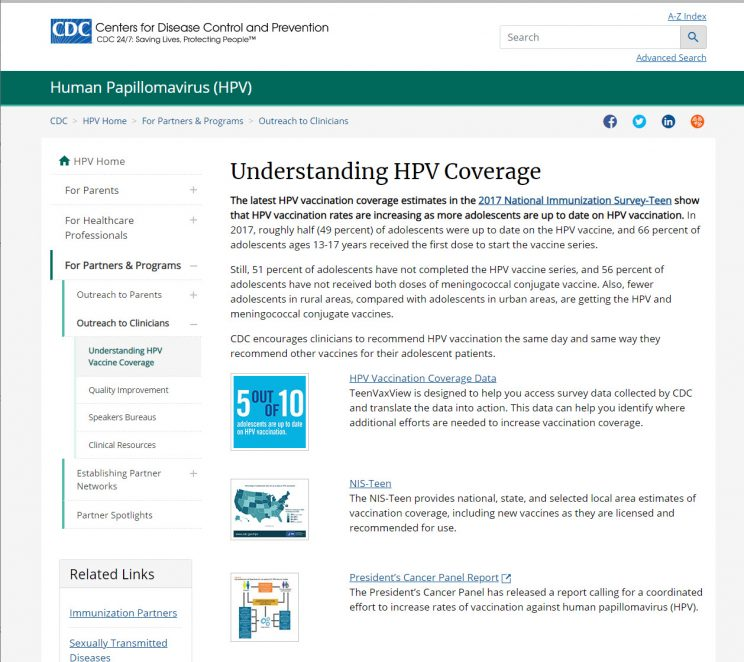 Webpage CDC Understanding HPV Coverage