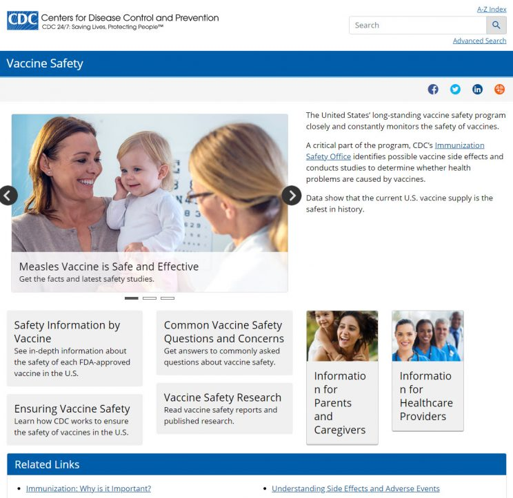 Webpage CDC Vaccine Safety Page