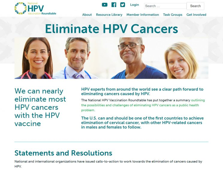 Webpage HPV Eliminate HPV Cancers
