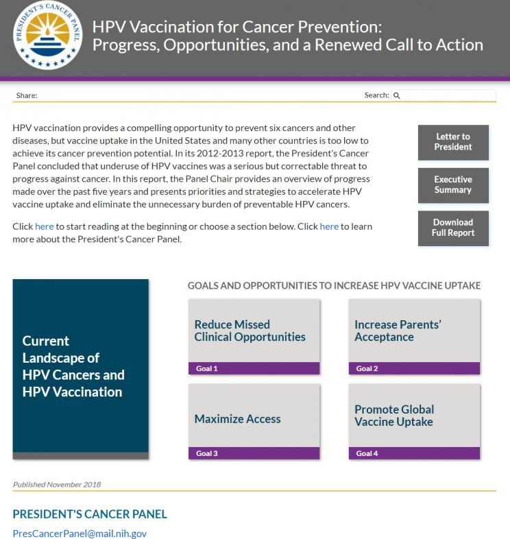 Webpage HPV HPV Vaccination for Cancer Prevention Progress