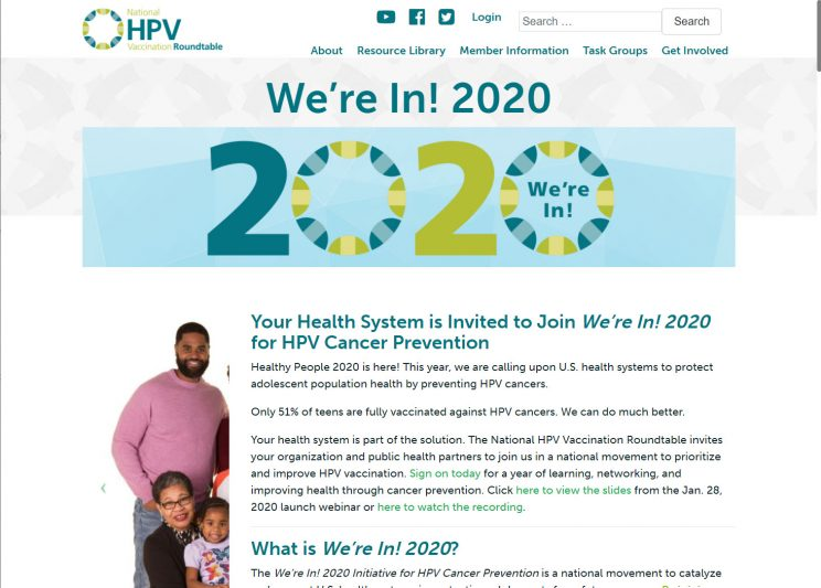 Webpage HPV We Are In 2020
