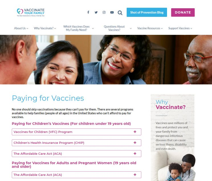 Webpage Vaccinate Your Family