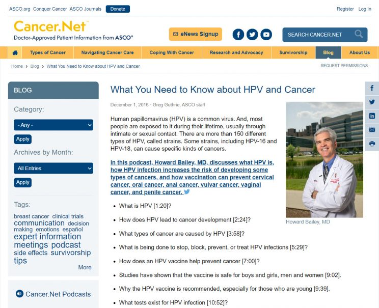 Webpage What You Need to Know About HPV and Cancer