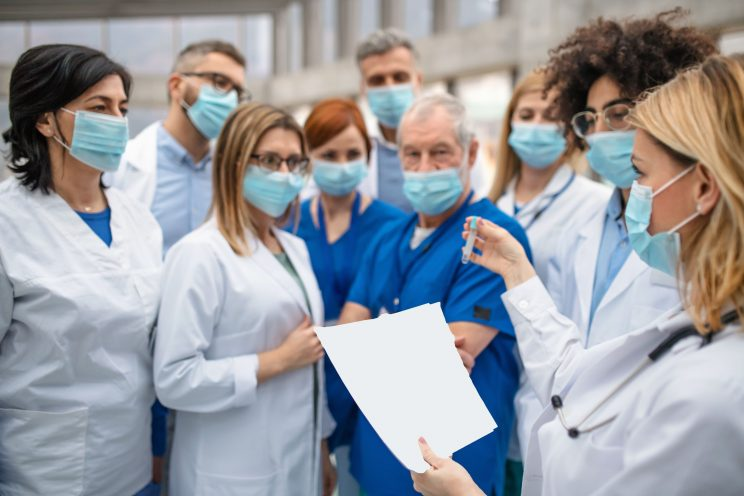 Image of Group of Standing Medical Staff Training